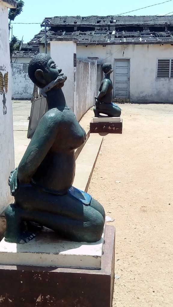 A statue of slaves - depicting how they were bound and shackled after being captured